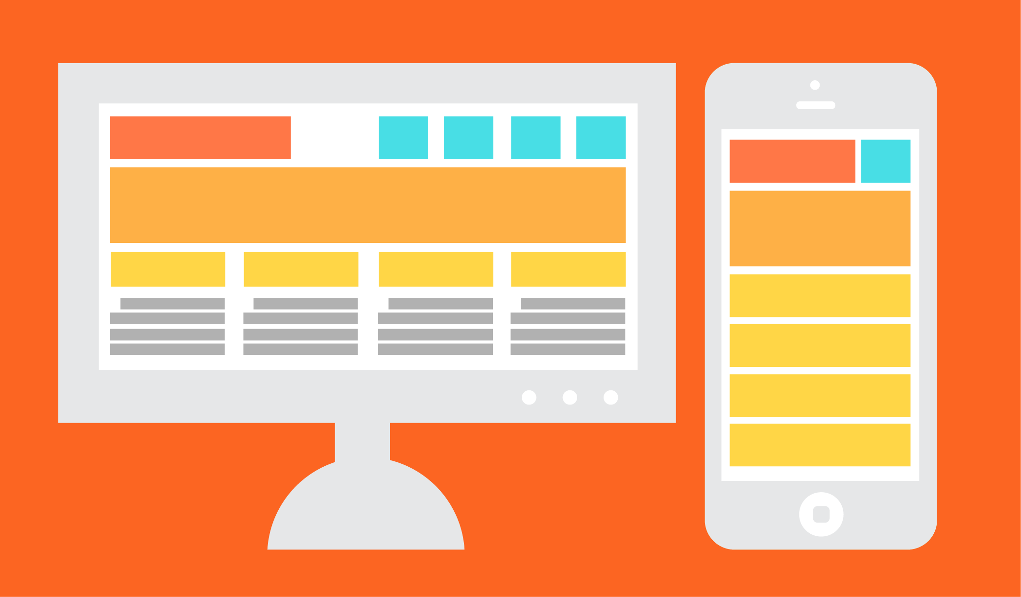 Illustration showing how content is organized differently for desktop and mobile screens.