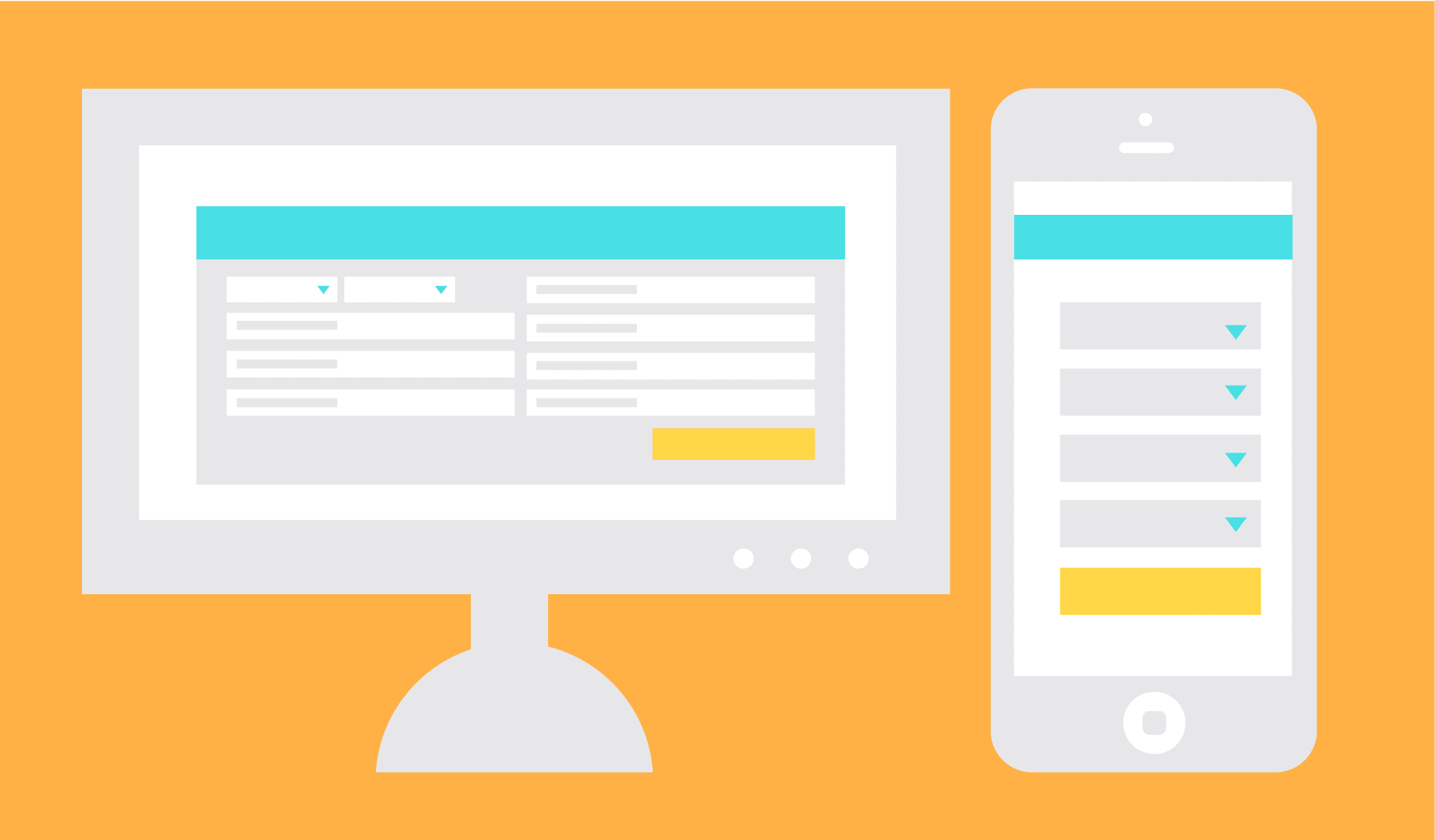 Illustration showing the differences between mobile and desktop forms.