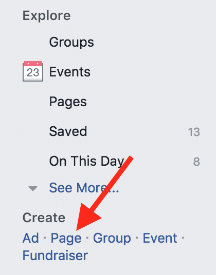 Screenshot of menu to create a Facebook ad.