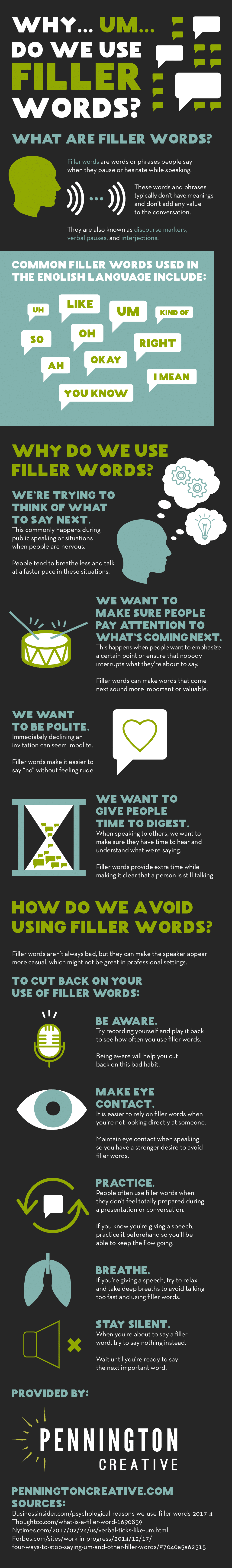 Infographic about filler words and how to avoid using them.