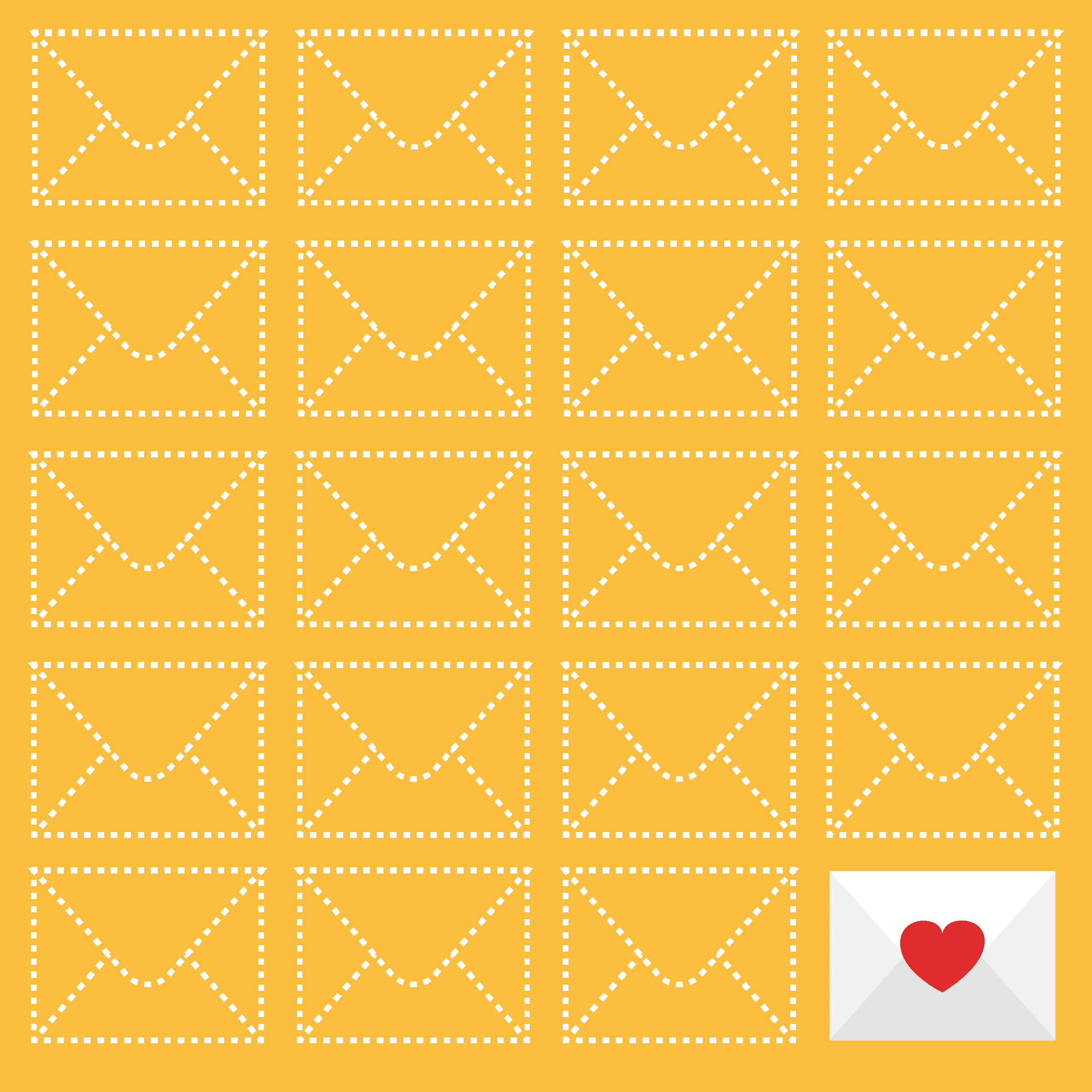 Illustration of envelopes, one with a heart on it.