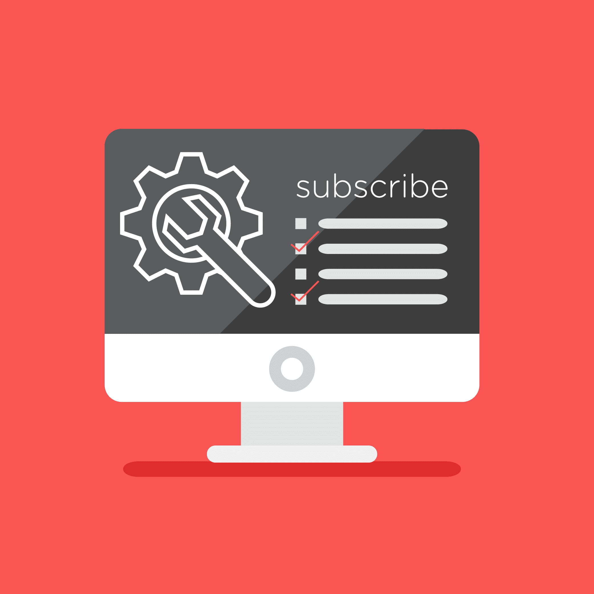 Illustration of a web page with a large Subscribe button.
