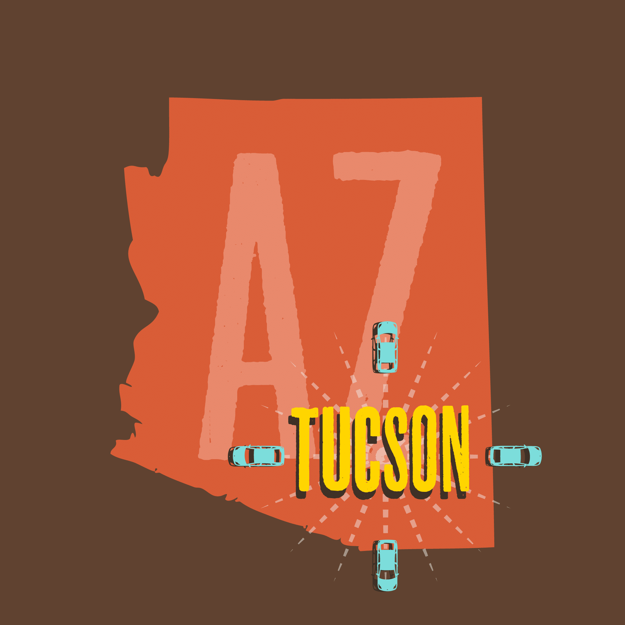 Illustration showing Arizona, featuring Tucson day trips.