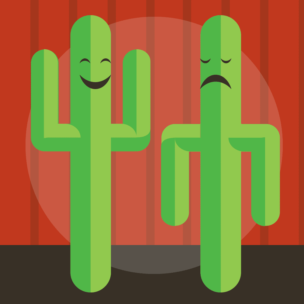 Illustration of two saguaro cacti acting on stage.