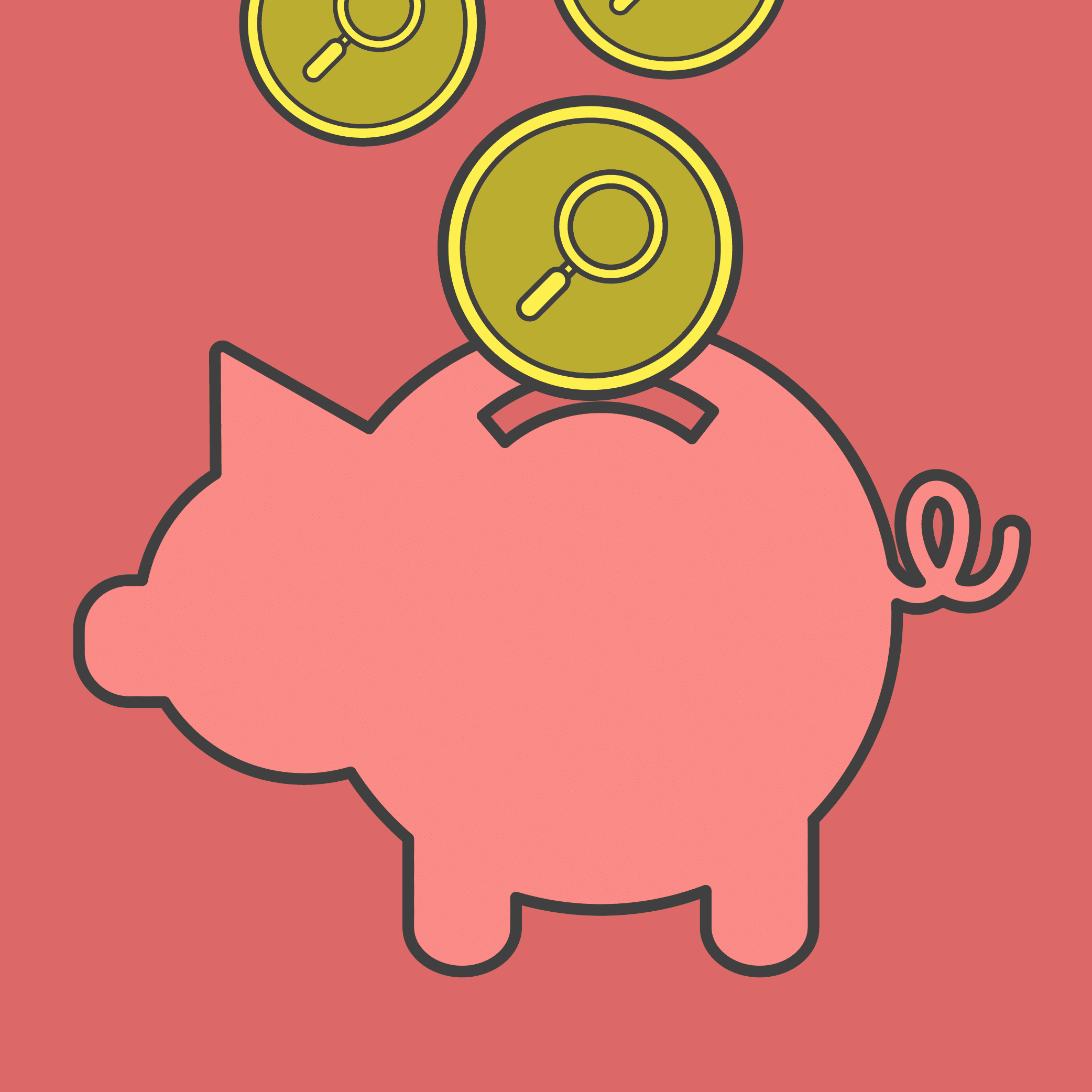Illustration of a piggy bank with search-branded coins.
