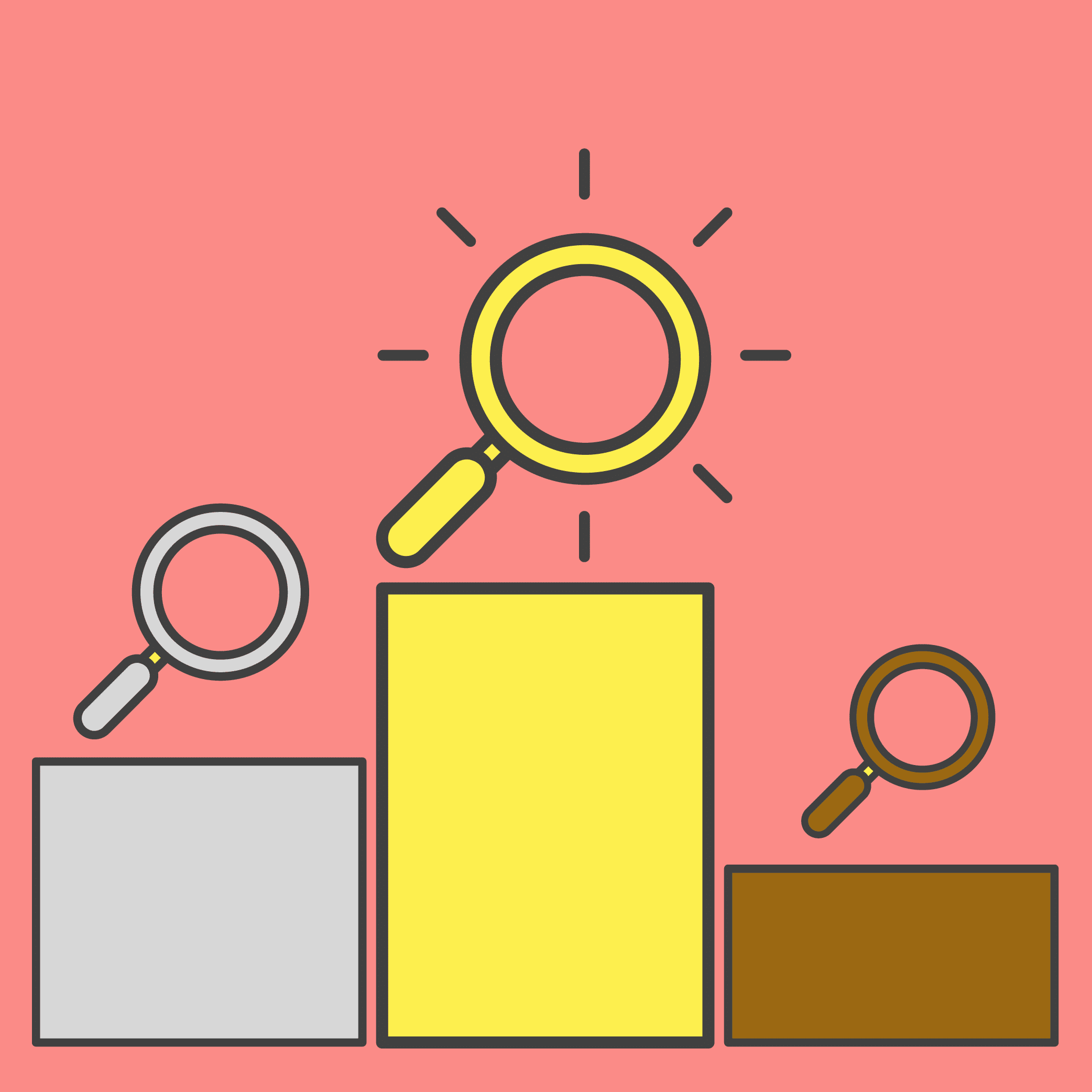 Illustration of three search rankings.