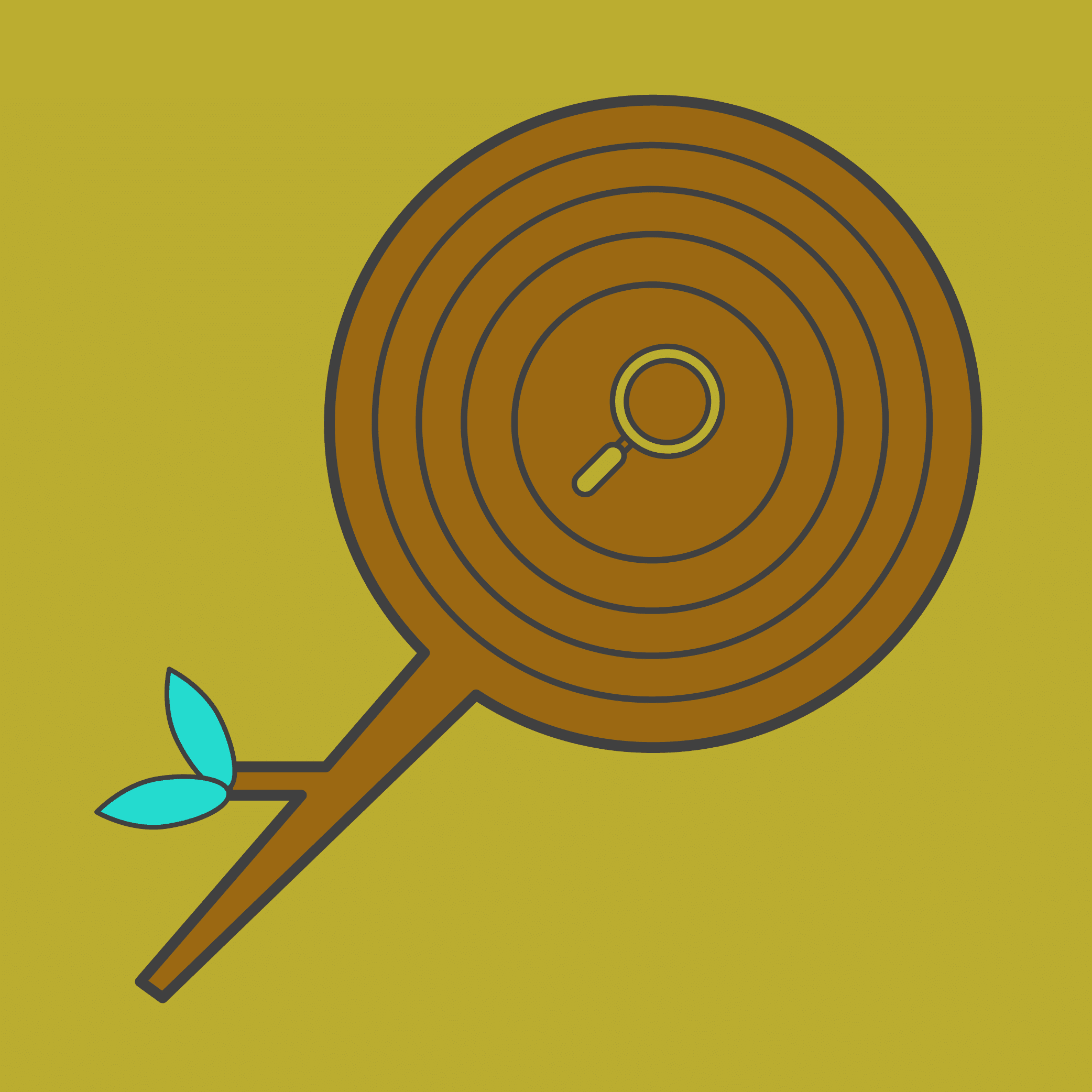 Illustration of a wooden search icon with growth rings.